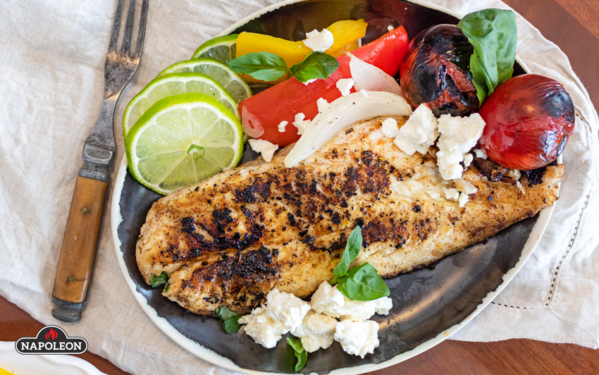 Canjun Style Orange Roughie - Serve on a bed of grilled veg