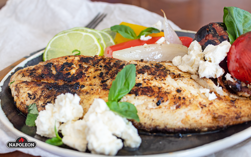 Canjun Style Orange Roughie - Top with creamy feta cheese
