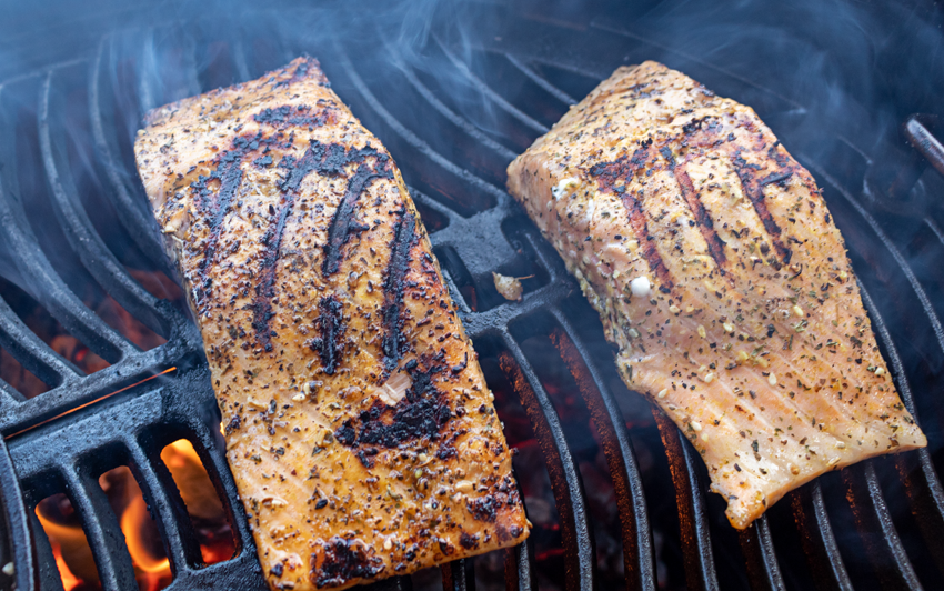 Charcoal Grilled Salmon - sear all sides