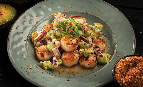 Feature - Bay Scallops with Avocado Sauce