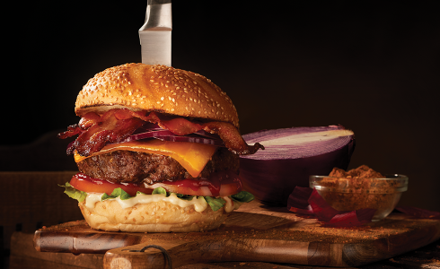 Feature - Classic Burger with Crispy BBQ Bacon